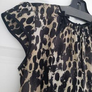 NANETTE LEPORE Animal Print cap sleeve blouse
